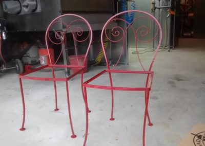 Red brown patio chairs